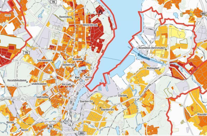 Immobilien Kompass Capital Kiel Karte Der Kaltmieten Im Bestand